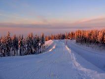 De winter bij bergen Royalty-vrije Stock Foto