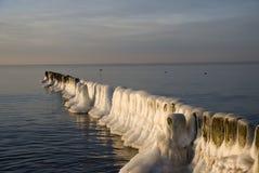 De winter bij de kust Stock Foto