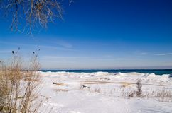 De winter bij Meer Michigan stock foto's