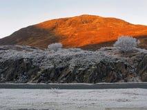De winter bij Nauwe vallei Garry, Schotland Stock Afbeeldingen
