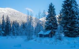 De winter blauw huis Stock Foto