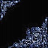 De winter blauwe abstracte achtergrond met ffloral patroon Stock Afbeeldingen