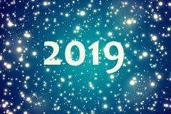 2019 De winter blauwe achtergrond met de dalende sneeuwvlokken royalty-vrije illustratie