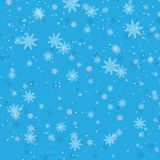 De winter blauwe achtergrond met sneeuwvlokken Vector illustratie royalty-vrije illustratie