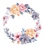 De winter bloemenkroon met takken, katoenen installaties, bloemen vector illustratie