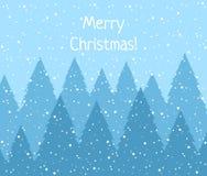 De winter boslandschap met nette sparren en sneeuwvlokken, vlakke vectorillustratie stock illustratie