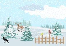 De winter boslandschap, de scène van het het wildconcept, vector illustratie