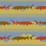 De winter breide wollen naadloos patroon met steuren Geel zand en blauw water Royalty-vrije Stock Foto's