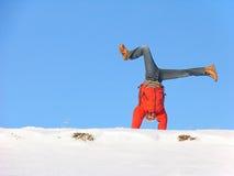 De winter cartwheel Stock Foto's