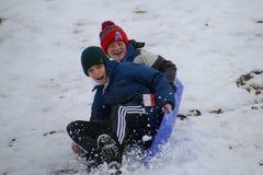 De winter in Central Park Stock Afbeelding