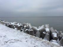 De winter in Darlowo Stock Afbeelding