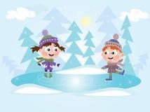 De winter: De het schaatsende meisje en jongen van het ijs Stock Afbeelding