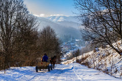 De winter in de Karpaten Stock Afbeelding