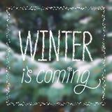 ` De winter is de komende sneeuwaffiche van ` in het van letters voorzien stijl Royalty-vrije Stock Foto