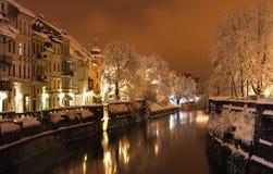 De winter in de oude stad Stock Afbeelding
