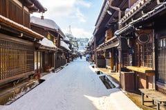 De winter in de oude stad van Takayama in Japan Stock Foto