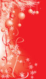 De winter, de rode achtergrond van Kerstmis met sneeuwvlokken, vector stock illustratie