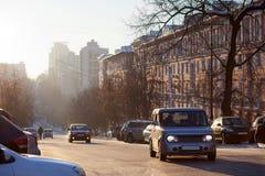De winter in de stad stock afbeelding