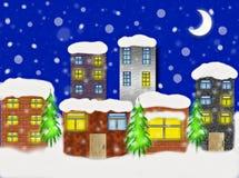 De winter in de stad stock foto's