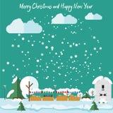De winter in de stad, sneeuwt het, Kerstmismarkt Kerstmis en Nieuwjaarskaart in vlakke stijl Stock Afbeelding