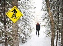De winter die met Sneeuwschoenen wandelt Stock Foto's