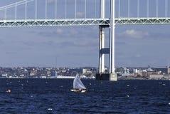 De winter die Narragansett-Baai varen stock afbeelding