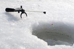 Een de winter visserij Stock Afbeeldingen