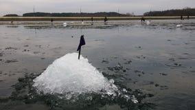 De winter die op ijs, vangstvissen vissen De hobbys, rust, ontspannen stock afbeelding