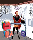 De winter die in Parijs winkelt stock illustratie