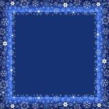 De winter donkerblauw kader met witte sneeuwvlokken Stock Foto