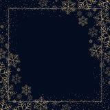 De winter donkere feestelijke achtergrond met gouden sneeuwvlokken voor Kerstmis en Nieuwjaar Decoratief sneeuwpatroon voor prent royalty-vrije illustratie