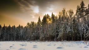 De winter donkere zonsondergang Stock Foto's