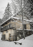 De winter in dorp Royalty-vrije Stock Afbeeldingen