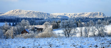 De winter in Dorp â Pasterka, Polen, land Stock Fotografie