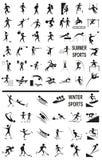 De winter en de zomersporten op het wit vector illustratie