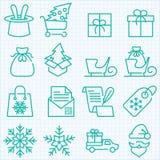 De winter en Kerstmistijd en geplaatste leveringspictogrammen die winkelen Stock Foto's