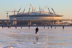 De winter en stadion Stock Fotografie