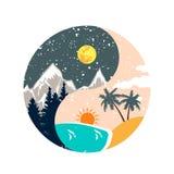 De winter en de zomer ying yang illustratie stock illustratie