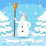 De Winter Forest New Year Christmas Card van de sneeuwmansneeuw Royalty-vrije Stock Afbeelding