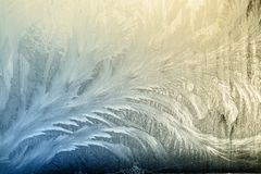 De winter frostwork op vensterglas royalty-vrije stock fotografie