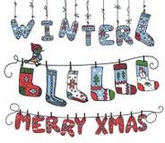 De winter gebreide brieven, birdl, sokken stock illustratie