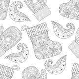 De winter gebreide vuisthandschoenen, sokken naadloos patroon in zentangle Stock Afbeeldingen