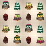 De winter gecontroleerd patroon met leuke uilen Stock Afbeeldingen