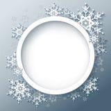 De winter grijze achtergrond met 3d sneeuwvlokken Stock Afbeelding