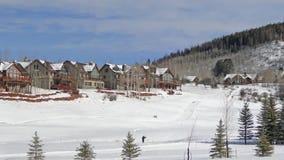 De winter, grote huizen stock videobeelden