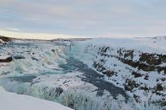 De winter in Gullfoss-Waterval in IJsland Royalty-vrije Stock Fotografie