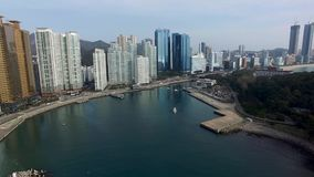 De winter Haeundae Marine City, Busan, Zuid-Korea stock video