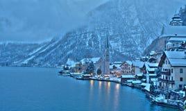 De winter in Hallstatt, de parel van Oostenrijk royalty-vrije stock foto's