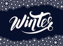 De winter handlettering inschrijving De winteremblemen en emblemen voor uitnodiging, groetkaart, t-shirt, drukken en affiches Stock Fotografie