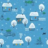 De winter in het dorp stock illustratie
